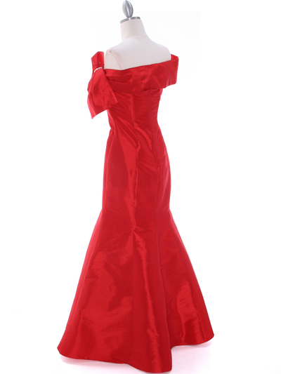 C1811 Red Taffeta Evening Dress with Oversize Bow - Red, Back View Medium
