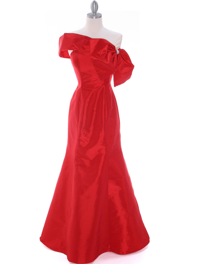 C1811 Red Taffeta Evening Dress with Oversize Bow - Red, Front View Medium