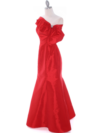 C1811 Red Taffeta Evening Dress with Oversize Bow - Red, Alt View Medium