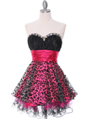 Black and Hot Pink Cocktail Dress