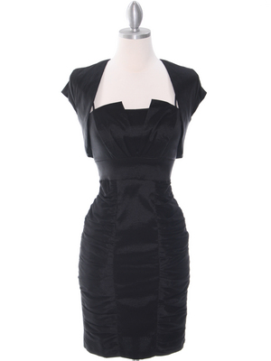 1818 Black Taffeta Cocktail Dress with Bolero, Black