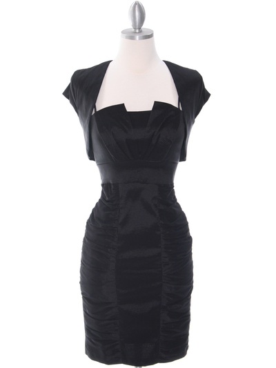 1818 Black Taffeta Cocktail Dress with Bolero - Black, Front View Medium