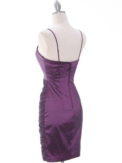 1818 Plum Taffeta Cocktail Dress with Bolero - Plum, Back View Medium