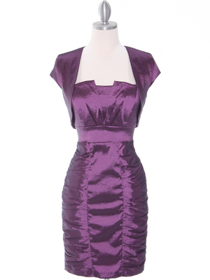 1818 Plum Taffeta Cocktail Dress with Bolero, Plum