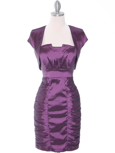1818 Plum Taffeta Cocktail Dress with Bolero - Plum, Front View Medium