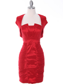 Red Taffeta Cocktail Dress with Bolero