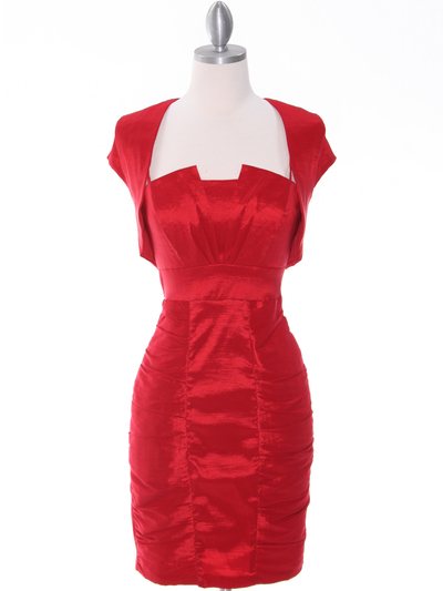 1818 Red Taffeta Cocktail Dress with Bolero - Red, Front View Medium