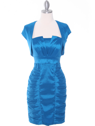 1818 Teal Taffeta Cocktail Dress with Bolero - Teal, Front View Medium