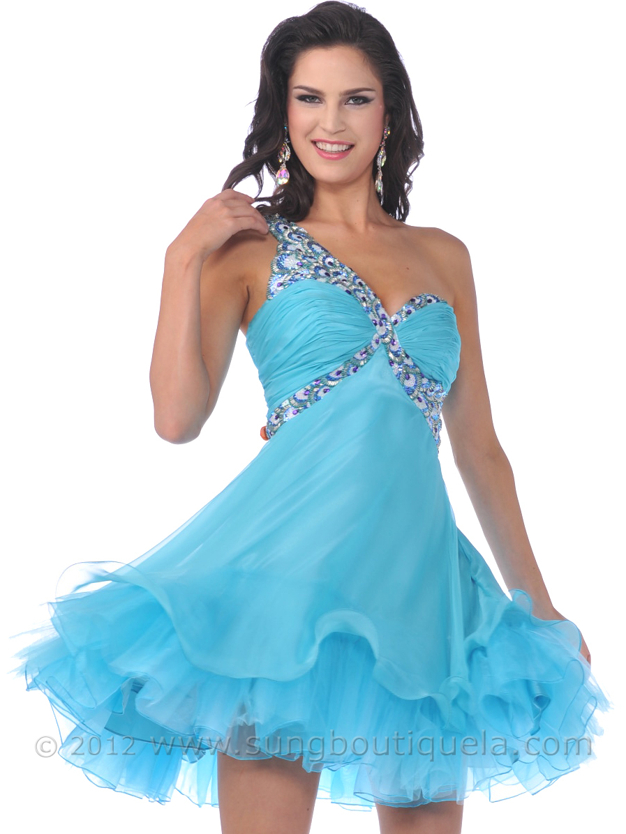 One Shoulder Sequin Strap Short Prom Dress with Tulle | Sung ...