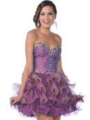 1833 Sweetheart Tiered Short Prom Dress, Plum