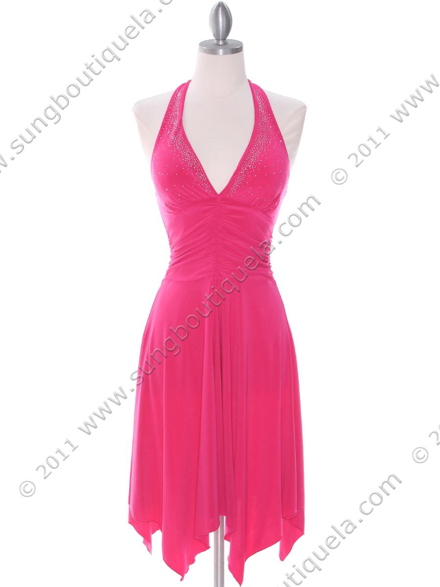 Hot Pink Halter Party Dress | Sung Boutique L.A.