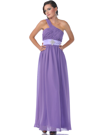 1835 One Shoulder Ruched Evening Dress - Dark Lilac, Front View Medium