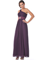 1835 One Shoulder Ruched Evening Dress - Eggplant, Front View Thumbnail