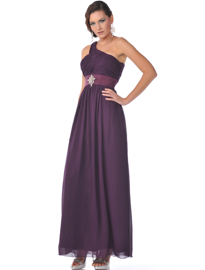 1835 One Shoulder Ruched Evening Dress - Eggplant, Front View Medium