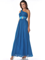 1835 One Shoulder Ruched Evening Dress - Teal, Front View Thumbnail