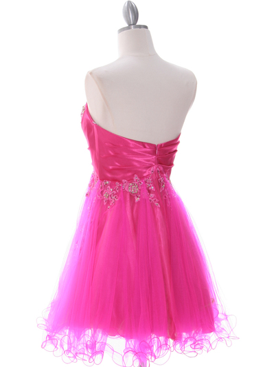 183 Hot Pink Strapless Homecoming Dress - Hot Pink, Back View Medium