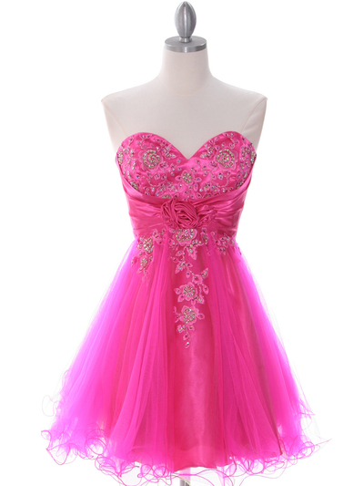 183 Hot Pink Strapless Homecoming Dress - Hot Pink, Front View Medium