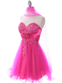 183 Hot Pink Strapless Homecoming Dress - Hot Pink, Alt View Thumbnail