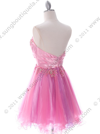 183 Pink Strapless Homecoming Dress - Pink, Back View Medium
