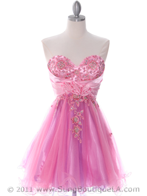 183 Pink Strapless Homecoming Dress, Pink