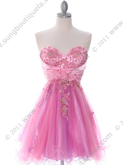 183 Pink Strapless Homecoming Dress - Pink, Front View Medium