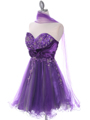 Purple Strapless Homecoming Dress