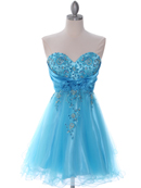 Turquoise Strapless Homecoming Dress