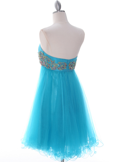 184 Turquoise Strapless Homecoming Dress - Turquoise, Back View Medium