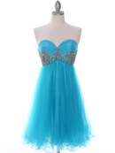 184 Turquoise Strapless Homecoming Dress, Turquoise