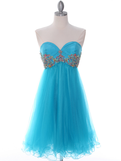 184 Turquoise Strapless Homecoming Dress - Turquoise, Front View Medium