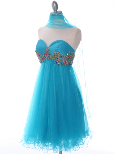184 Turquoise Strapless Homecoming Dress - Turquoise, Alt View Medium