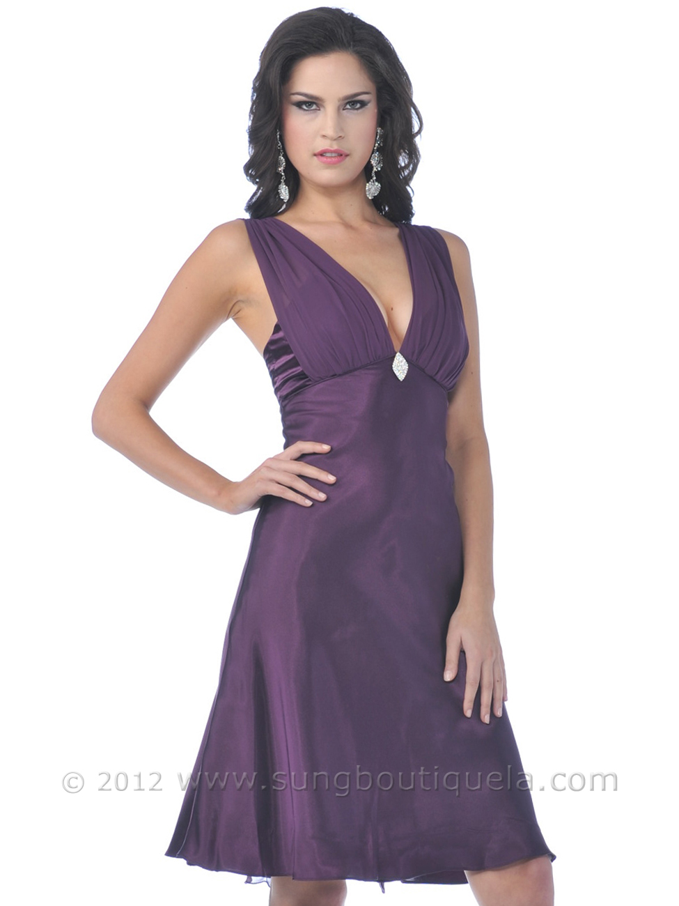 Satin Cocktail Dress with Rhinestone Pin | Sung Boutique L.A.