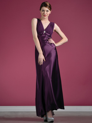 1855 Plum Satin Evening Dress, Plum