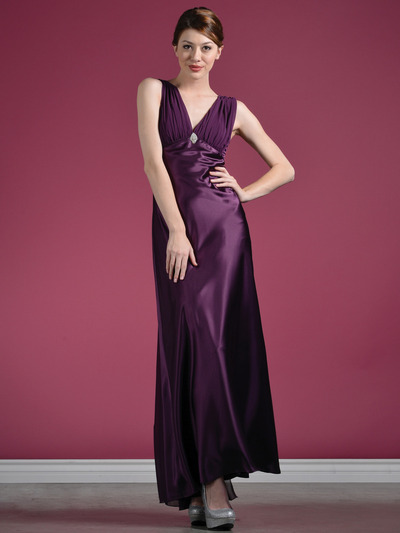 1855 Plum Satin Evening Dress - Plum, Front View Medium