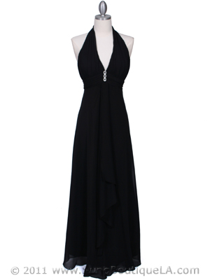 1856 Black Halter Evening Dress with Rhinestone Pin, Black