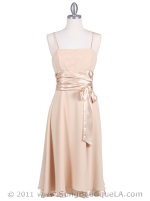 Gold Tea Length Dress - Front Image