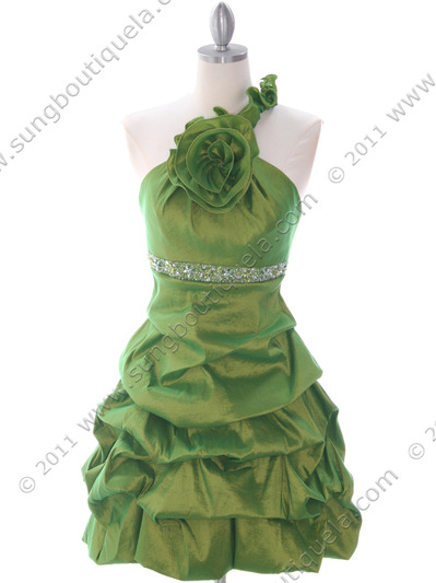 187 Green Homecoming Dress - Green, Front View Medium