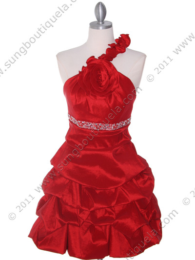 187 Red Homecoming Dress - Red, Front View Medium