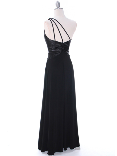 1888 Black One Shoulder Evening Dress - Black, Back View Medium