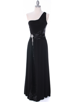 1888 Black One Shoulder Evening Dress, Black