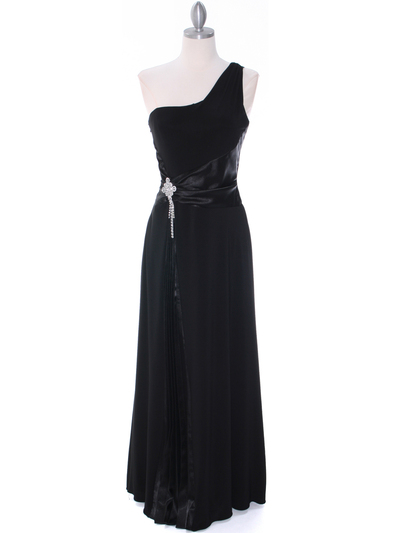 1888 Black One Shoulder Evening Dress - Black, Front View Medium