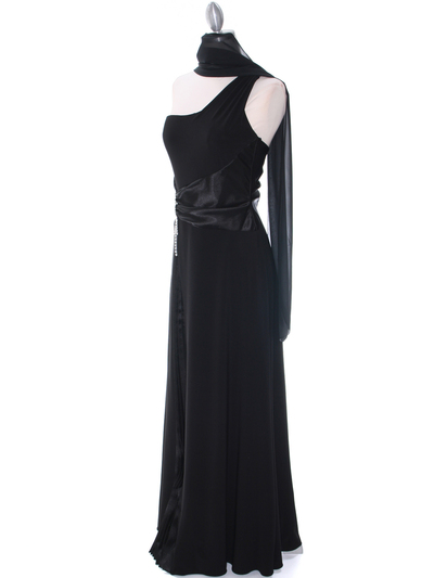 1888 Black One Shoulder Evening Dress - Black, Alt View Medium