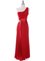 1888 Red One Shoulder Evening Dress - Red, Front View Thumbnail