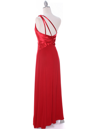 1888 Red One Shoulder Evening Dress - Red, Back View Medium
