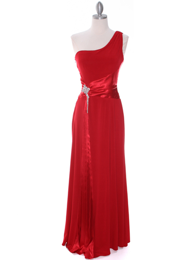 1888 Red One Shoulder Evening Dress - Red, Front View Medium