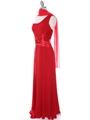 1888 Red One Shoulder Evening Dress - Red, Alt View Thumbnail