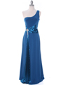 1888 Teal One Shoulder Evening Dress - Teal, Front View Thumbnail