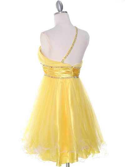 188 Yellow One Shoulder Homecoming Dress - Yellow, Back View Medium