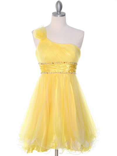 188 Yellow One Shoulder Homecoming Dress - Yellow, Front View Medium