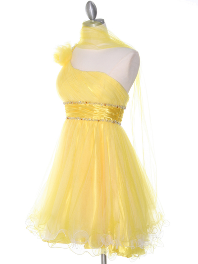 188 Yellow One Shoulder Homecoming Dress - Yellow, Alt View Medium